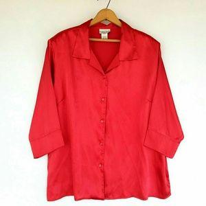 FASHION BUG Red Faux Silk Top 2X